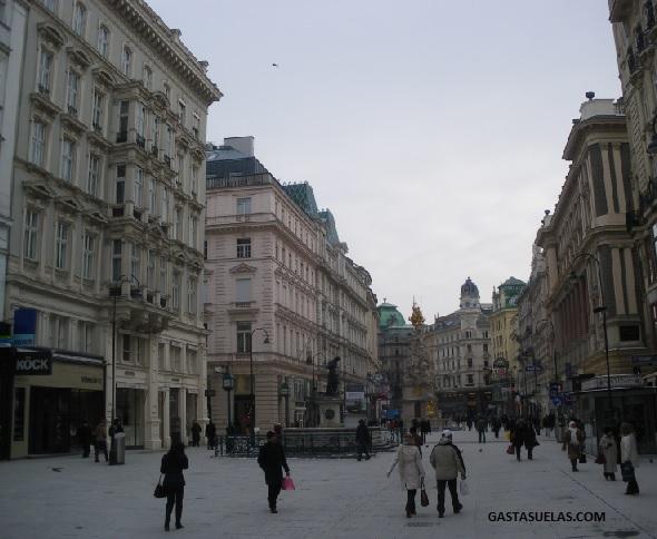 Calle Graven y Memorial a la Peste (Pestsäule) en Viena