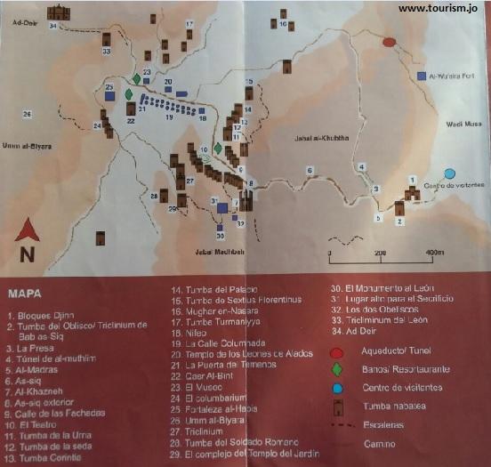 Mapa de Petra incluido en un folleto informativo