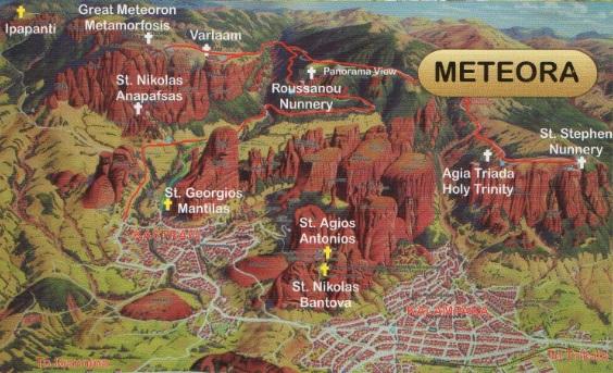 Mapa turístico de Meteora (Grecia)