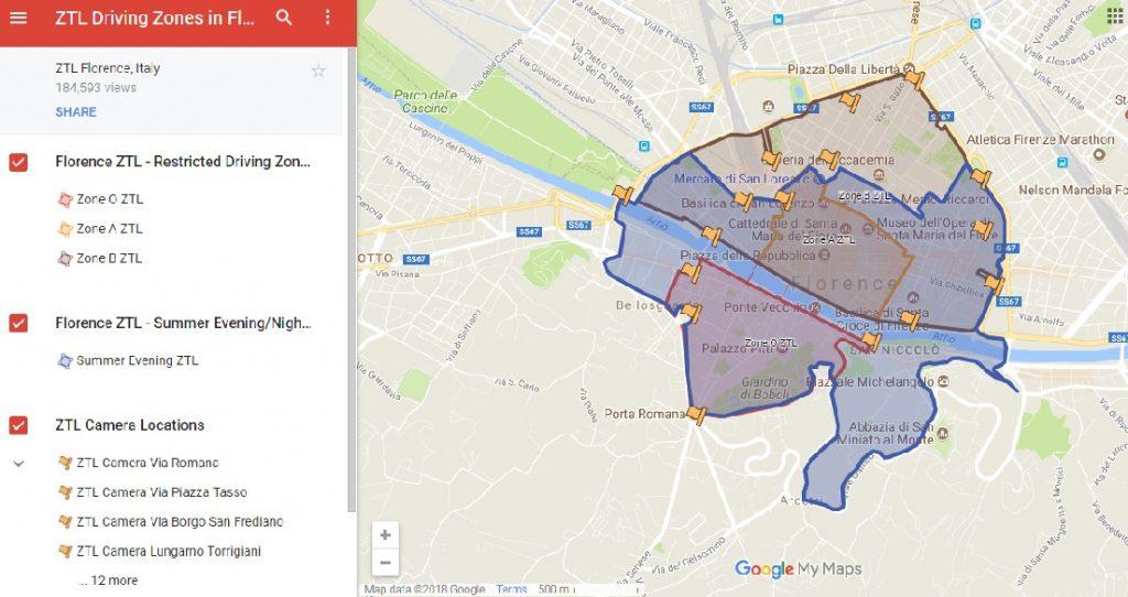 Mapa de Google con las ZTL en Florencia (Italia)
