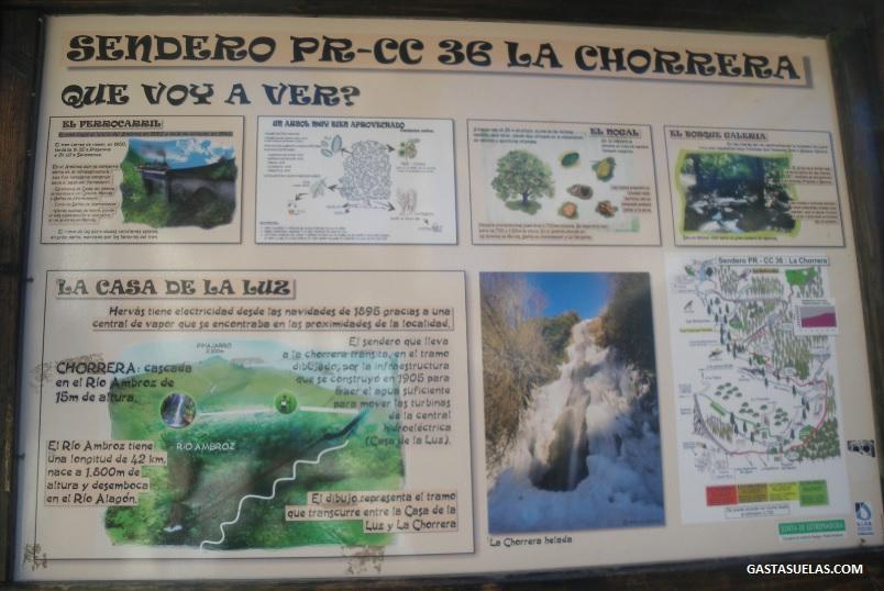 Cartel informativo del Sendero de la Chorrera desde Hervás (Cáceres)