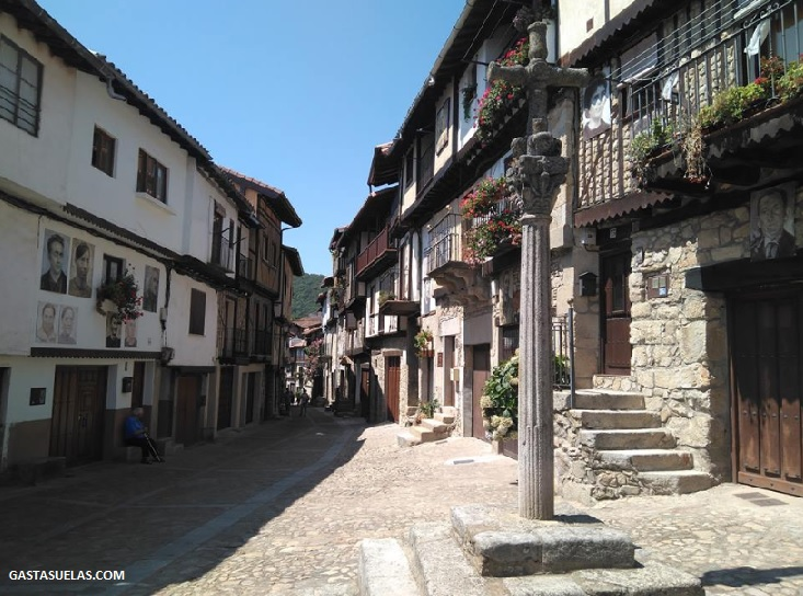 Mogarreño sobreviviendo al calor de agosto en Mogarraz (Salamanca)