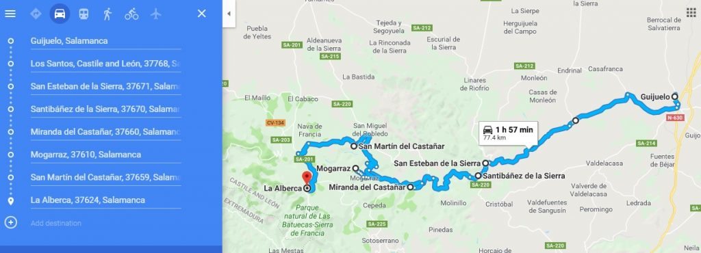 Primer tramo de la ruta (Google Maps)